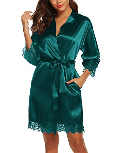 URRU Women's Bathrobes Short Kimono Robe Bridesmaids Satin Sleepwear Above Knee Length Green XL