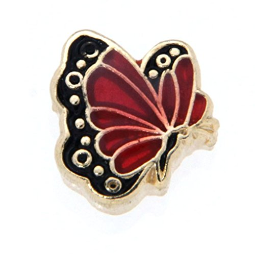 July Butterfly Enamel Birthmonth Charm for Floating Lockets, Goldtone