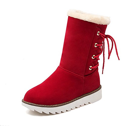AgooLar Women's Solid Frosted Low-Heels Round-Toe Pull-On Boots Red