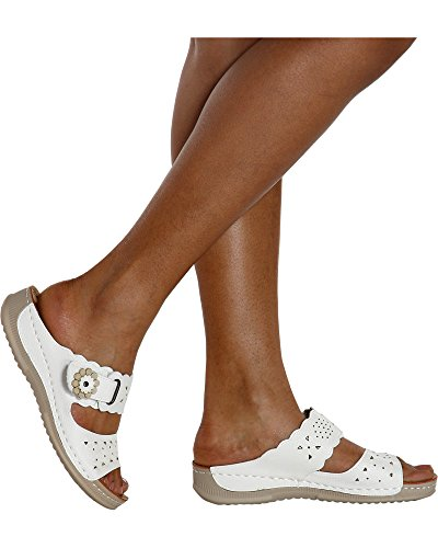 Golden Road Women's Daisy Flower Comfort Sandal (Available in 2 (Golden Ladies Shoes)