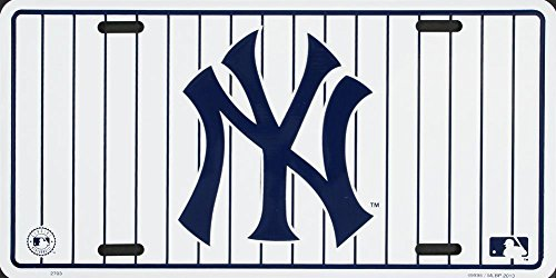 NY Yankees Stripe License Plate Tin Sign 6 x 12in