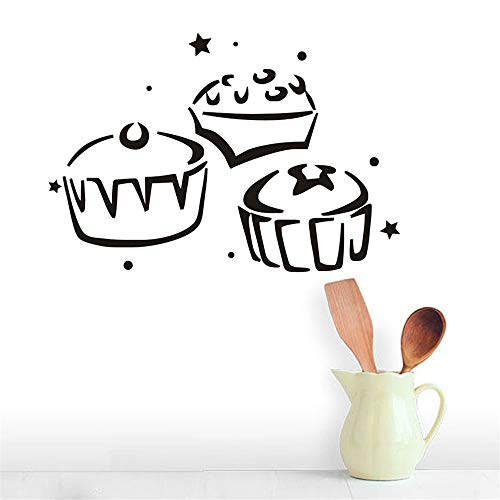 umanel Room Wall Stickers Quotes Three Cupcake Kitchen Home Decor Hollow Out Design Sticker for Kids Room Decoration]()