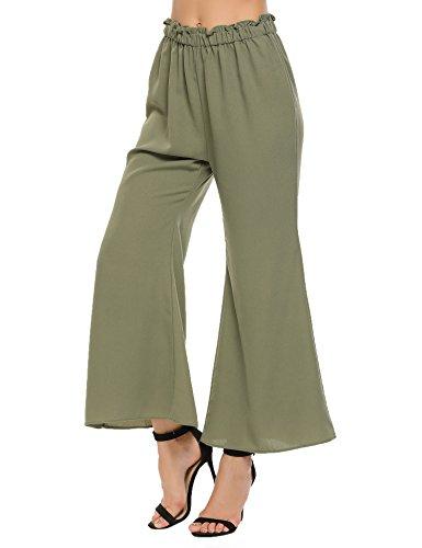 Zeagoo Women Ruffle Elastic Waist Flare Wide Leg Culottes Long Palazzo Pants(Olive Green,S)