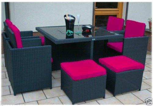 Wasserfest 12-teiliges Ersatz Sitz Kissen für 8 Stück Outdoor Terrasse Möbelset, Erhältlich in 11 Farben - Rosa