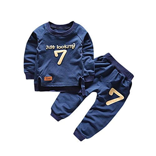 Gotd Toddler Infant Baby Girl Boy Clothes Winter Long Sleeve Print Tops+Pants Christmas Autumn Outfits Gifts (12-18 Months, Navy)