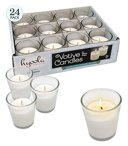 Hyoola White Votive Candles - 24 Pack - Clear Glass Cups, Unscented, Long 12 Hour Burn Time - for Party Decorations, Birthday, Wedding and Dinner Centerpieces (Winter Votive Candles)