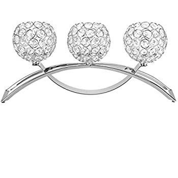 Yosooo Decorative Crystal Candle Holders with 3 Arms, European Classic Arch Iron Crystal Ball Romantic Candlelight Dinner Candlestick(Silver)