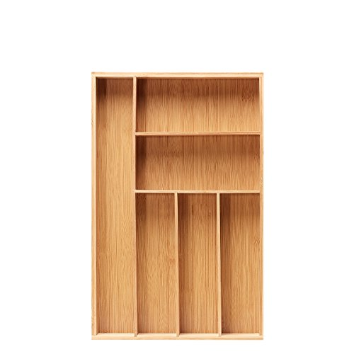 Bamboo Large Cutlery Tray Drawer Kitchen Flatware Organizer Utensil tray with 6 (Flatware Drawer Organizer)