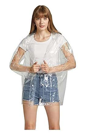 Krespuka Women Transparent Raincoat EVA Waterproof Rain Jacket Coat with DetachableHood (Transparent, M)