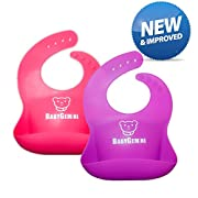 BABYGEMINI Waterproof Silicone Bib Set of 2 Pack - Easy Clean, Comfortable and Adjustable Soft Feeding Bibs for Baby & Toddlers (Purple & Pink)