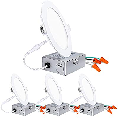 Hykolity LED Downlight Ceiling Fixture, New Construction or Remodel IC-Rated Low Profile Integrated LED Downlight-4 Pack