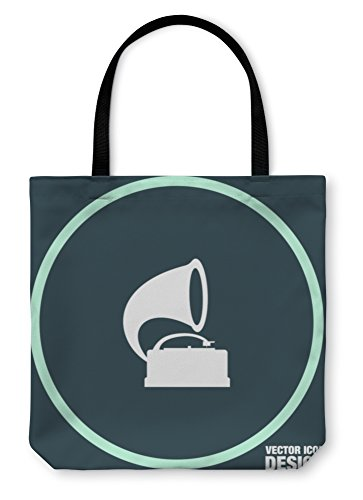 Gear New Shoulder Tote Hand Bag, Gramophone Icon Record Player Sign, 18x18, 6050887GN