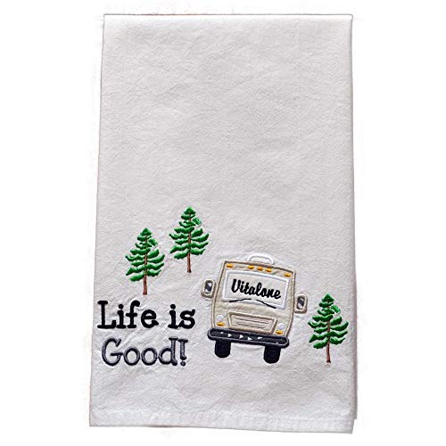 Custom Dish Towel, Camping Gift, RV Decor, Camping Dish Towel, Glamping, RV Accessories, Flour Sack Towel, RV Gift, Camper Decor, Top Quality, Choice of RV Color, (Option to add name in window) by Embroidery Hut (Image #2)