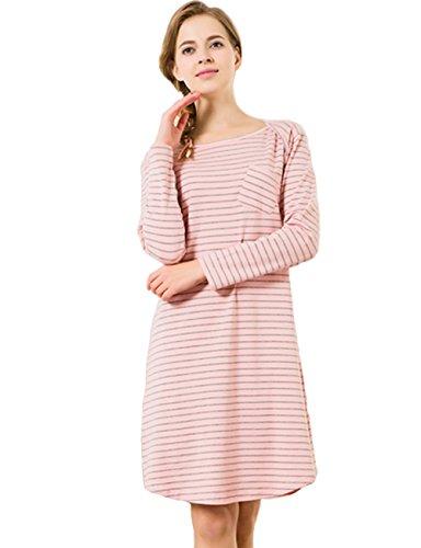 Stripes Homedress Womens Ladies Girls Cotton Knit Nightgown(XL, Pink Grey)