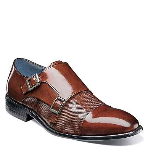 STACY ADAMS Men's Jennings Cap Toe Double Monkstrap Cognac 9 D US ()