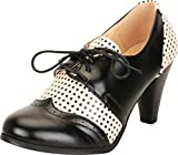 Cambridge Select Women's Retro Pinup Vintage Inspired Lace-Up Chunky Heel Wingtip Oxford,6 B(M) US,Black/White Polka Dot PU