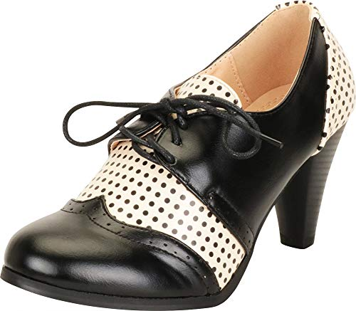 - Cambridge Select Women's Retro Pinup Vintage Inspired Lace-Up Chunky Heel Wingtip Oxford,7 B(M) US,Black/White Polka Dot PU