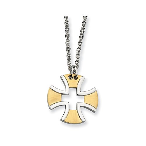Chisel Stainless Steel and Gold Tone Maltese Cross Necklace - 18 - Gold Tone Maltese Cross