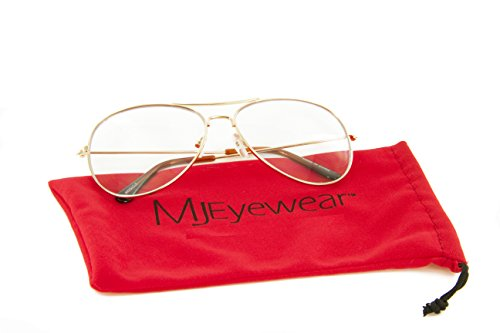 MJ Eyewear Classic Tear Drop Aviator Glasses Clear Lens Metal Frame (Gold, - Aviator Glasses Frames