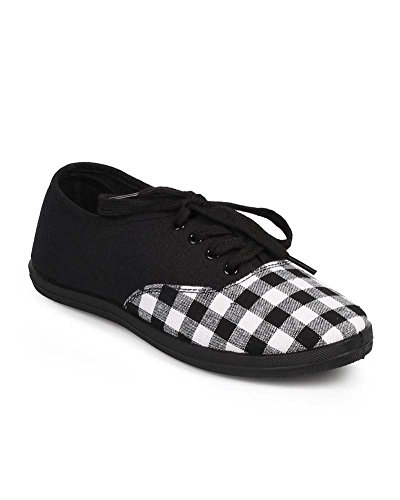 Black Gingham Plaid Print Canvas Lace-Up Fashion Sneakers – 8.5