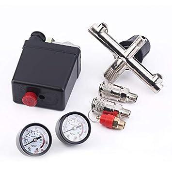 Yogasada Piezas del compresor de Aire Regulador de Soporte de Bama/Compresor de Viento/Aire Soporte con válvula de Seguridad de válvula de Interruptor de ...