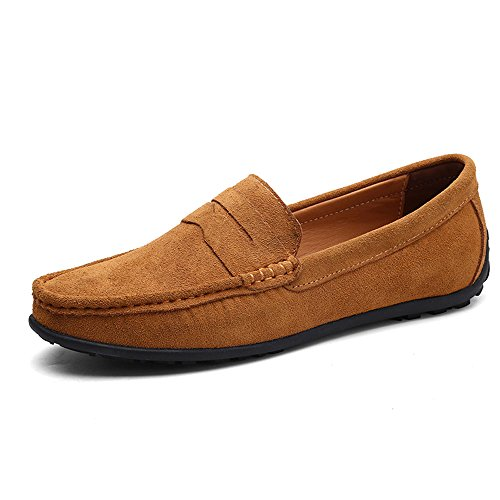 VILOCY Men's Casual Suede Slip On Driving Moccasins Penny Loafers Flat Boat Shoes - Loafers Brown Suede