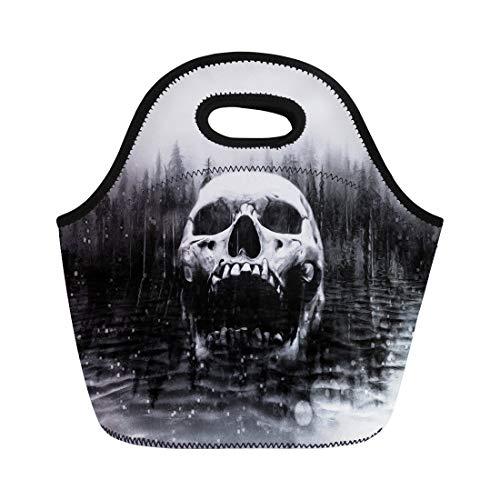 Tinmun Lunch Tote Bag Old Skull in Center of Dark Foggy Lake Dead Reusable Neoprene Bags Insulated Thermal Picnic Handbag for Women Men -
