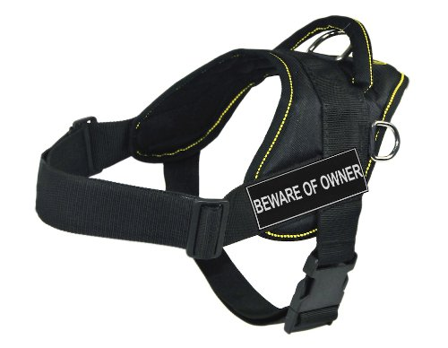 Dean & Tyler Fun Harness, Beware of Owner, Black with Yellow Trim, Small, Fits Girth Size  22-Inch to 27-Inch