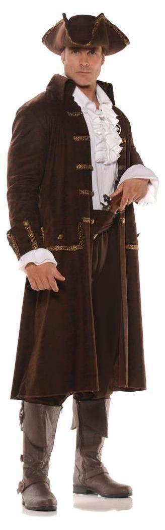 Pizazz! Men's Captain Cutthroat Deluxe Costume, Brown/White, Standard