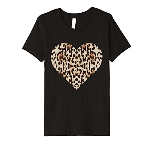 Kids Cheetah Leopard Heart t-shirt Cool Animal Print Love Symbol 8 Black