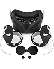Oculus Quest 2 Accessories, Colohas VR Cover with Front Face Protector Cover, Protective Lens Cover, Touch Controller Grips Cover, Silicone Face Cover Sweat Guard Anti-Leakage Pad (Black)