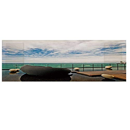 Zen Decor Dustproof Electric Oven Cover,Horizon Sea View at Pattaya City Thailand Balcony Beach Asian Tropical Tranquil Cover for Kitchen,36
