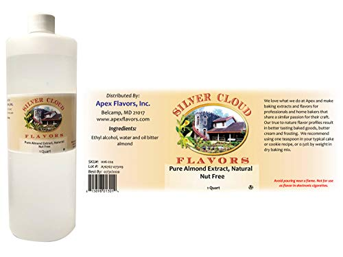 Pure Almond Extract, Natural - Nut Free - 1 Quart plastic bottle (Almond Silvers)