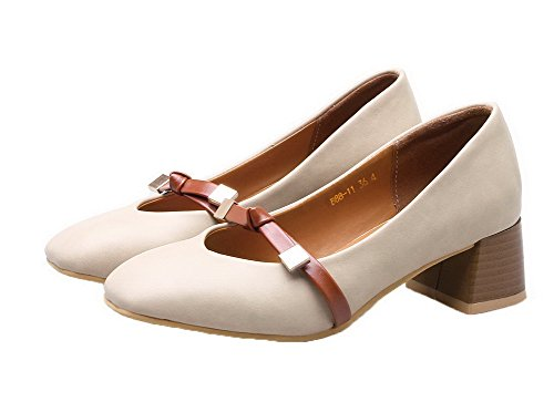 Amoonyfashion Femmes Pu Carré Fermé Orteils Chaton-talons Chaussures-chaussures Abricot