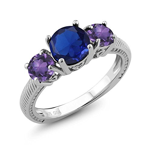 9.67 Ct Round Blue Simulated Sapphire Purple Amethyst 925 Sterling Silver 3 Stone Ring (Ring Purple Women Sapphire For)