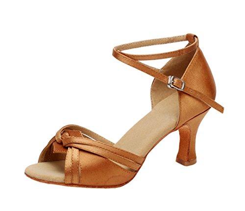 Dance Party Comfort Modern Women's Wedding Salsa Latin Knot Prom Peep Ballroom Brown MGM Tango 7 5cm Shoes Sandals Heel Toe Joymod Satin PZqxXCwg