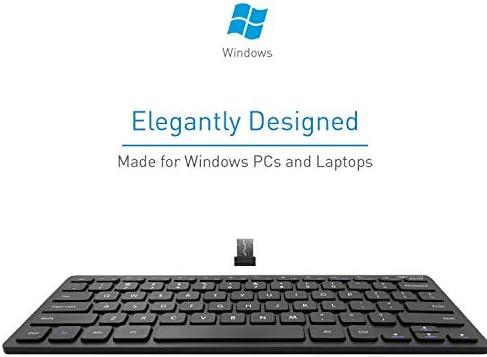 Macally 2.4G Mini teclado inalámbrico – ergonómico y cómodo – pequeño teclado para ordenador portátil o Windows PC, tableta, Smart TV – Plug & Play Teclado compacto 12 teclas de acceso rápido multimedia 5