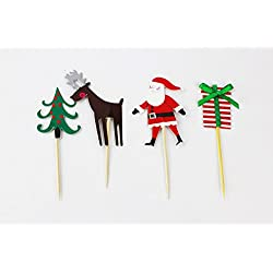 Value Pack- 24 Cupcake Toppers Picks- Various Themes (Christmas)