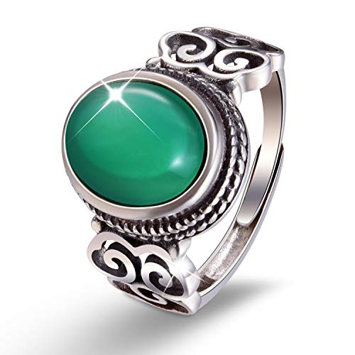 Lotus Fun S925 Sterling Silver Rings Vintage Natural Chalcedony Open Ring Handmade Jewelry Unique Gift for Women and Girls (Green)]()