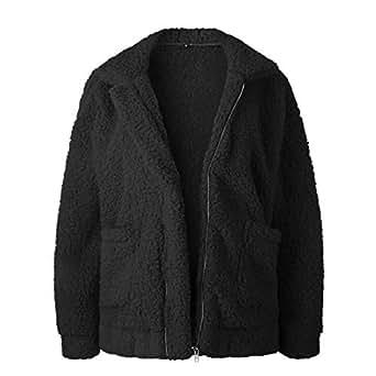 Deasol Women Casual Fleece Fuzzy Faux Open Front Zip Up