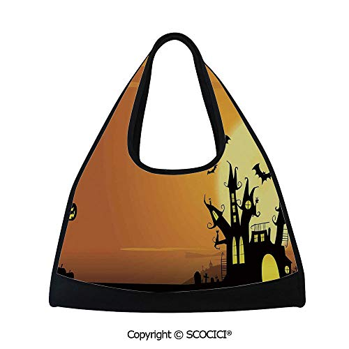 Tennis racket bag,Gothic Haunted House Bats Western Spooky Night Scene with Pumpkin,Easy to Carry(18.5x6.7x20 in) Orange Black -
