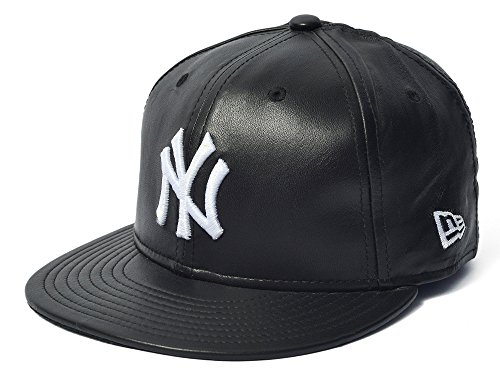 New Era 59Fifty Leather New York Yankees Black Fitted Cap (7 5/8)