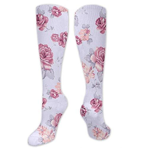 Romantic Flower high socks Long Socks Boot Stocking Compression Sports Socks For Women Men