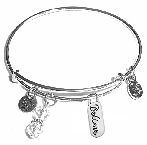 (Hidden Hollow Beads Message Charm (84 Options) Expandable Wire Bangle Bracelet, in The Popular Style, Comes in A Gift Box! (Believe) )