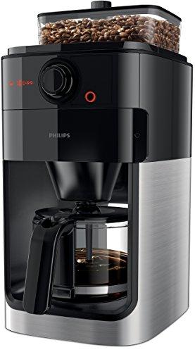 Philips HD7765/00 Grind&Brew Filter- Kaffeemaschine, Einzelbohnenbehälter, schwarz/metall