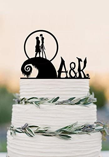 The nightmare before Christmas cake topper Jack and Sally Cake