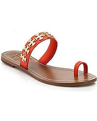 Tory Burch Val Flat Metal Logo Leather Sandal Poppy Red (8)