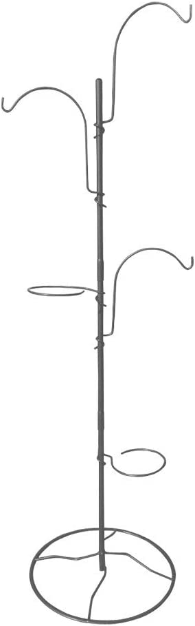 Gray Bunny Yard Tree Hanging System, Potted Plant Hanger, Bird Feeding Station, for Hanging Planters, Bird Feeders, and Wind Chimes on Patios, Decks and Balconies