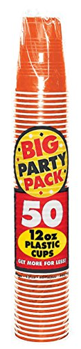 Big Party Pack Orange Peel Plastic Cups | 12 oz. | Pack of 50 | Party Supply