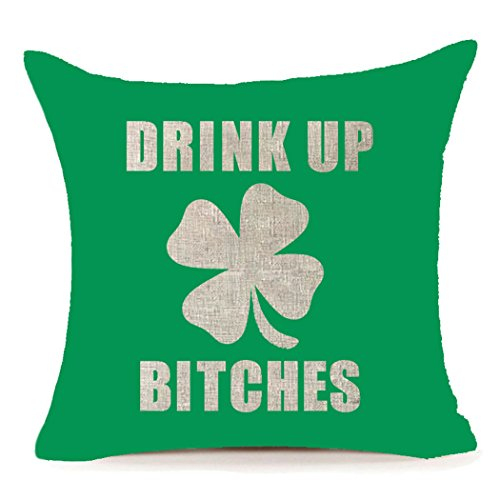 St. Patricks Day Drink up Bitches Home Decor Cotton Linen Clover Throw Pillow Case Cushion Cover 18 x 18 Inch,Green